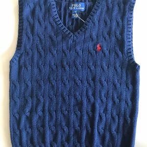 POLO RALPH LAUREN Ribbed Vest sZ 5 navy blue EUC